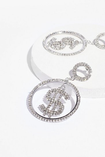 Silver Dollar at Me Diamante Drop Earrings
