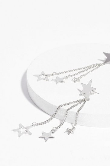 Silver Party Star-ter Fringe Drop Earrings