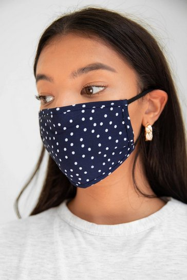 Navy Game Face Spotty Fashion Face Mask