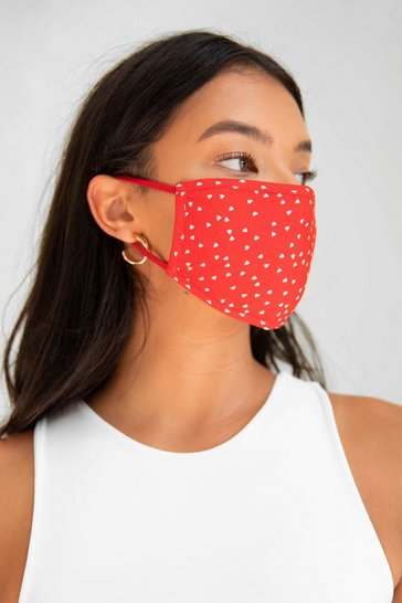 Red Let's Face It Spotty Fashion Face Mask