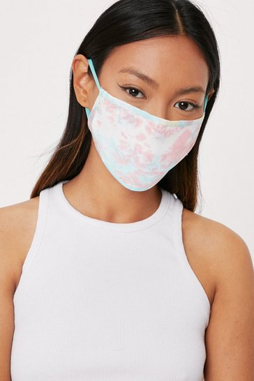 Pink Watch Your Mouth Tie Dye Fashion Face Mask