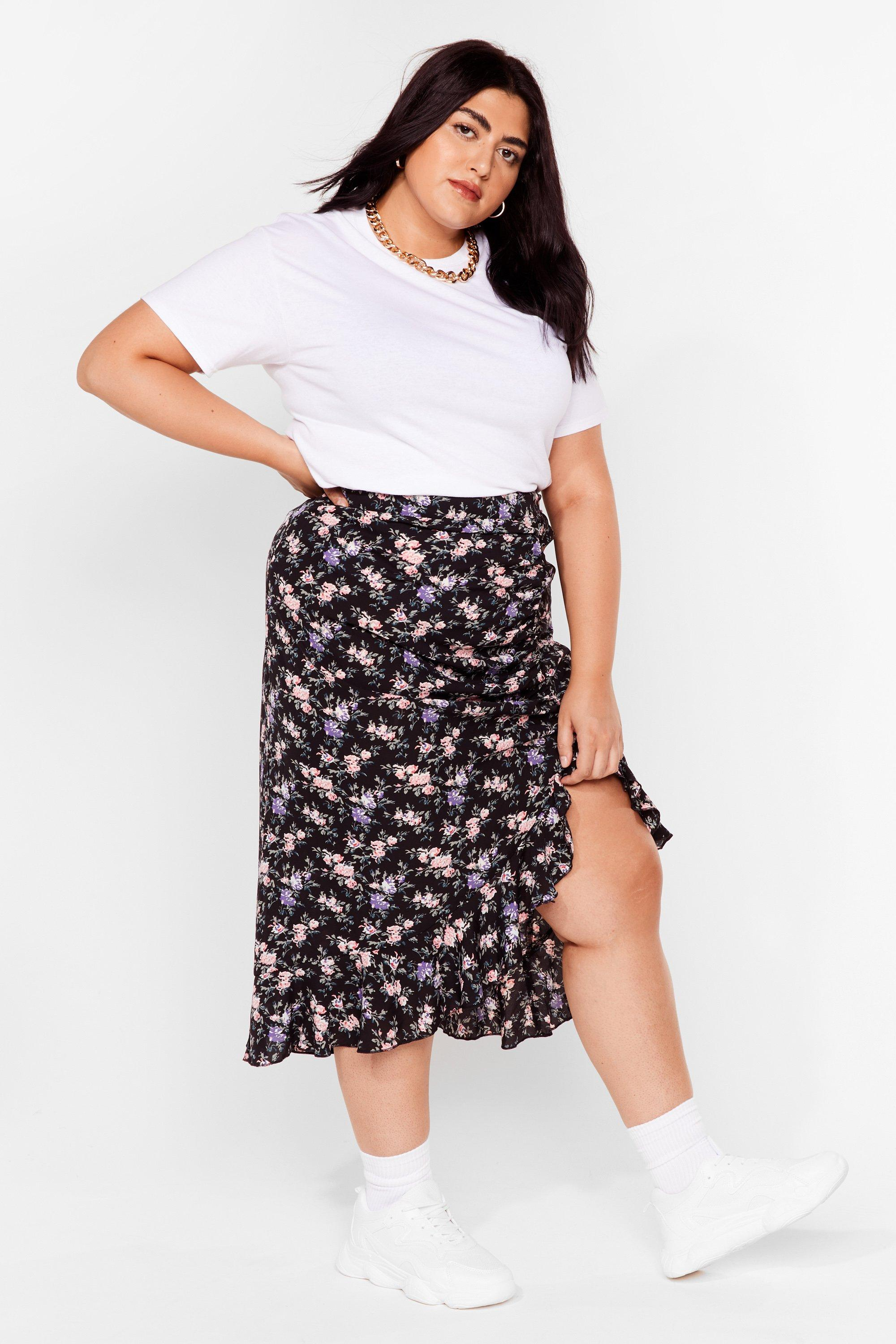 Frill Want You Plus Floral Midi Skirt 6