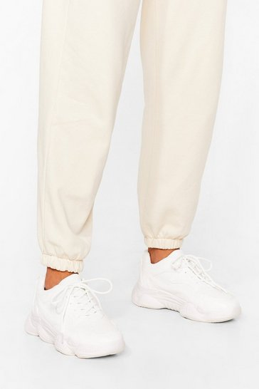 White Let's Run Off Chunky Lace-Up Sneakers
