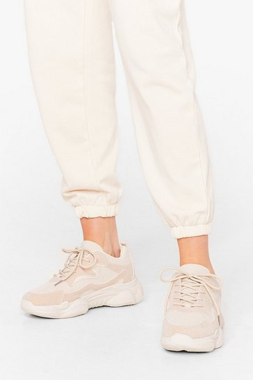 Sand Home Run Chunky Lace-Up Trainers