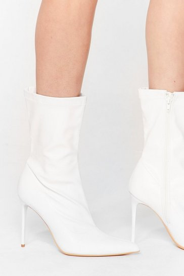 White Point of View Faux Leather Stiletto Boots