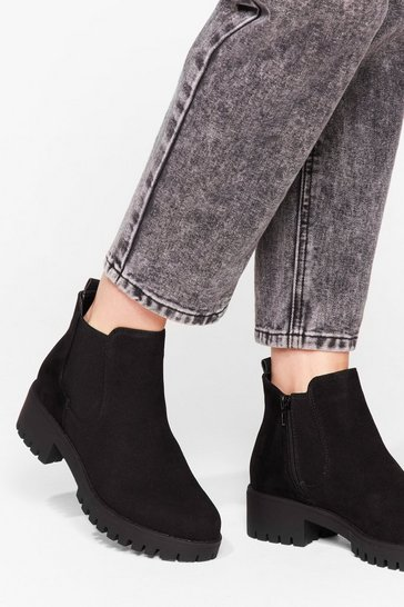 Black Faux Suede Low Ankle Chelsea Boots