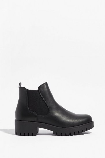 Black Walk a Mile in My Faux Leather Chelsea Boots