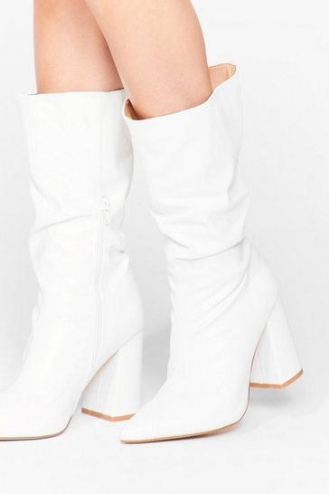 White Faux Leather Heeled Sock Boots