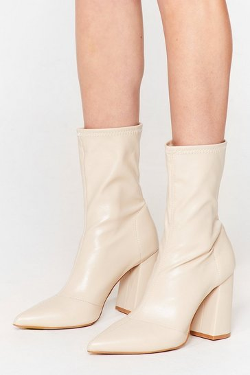 Beige Ridin' High Faux Leather Sock Boots