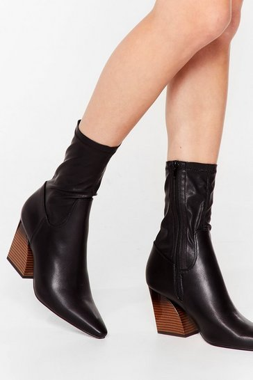 Black Sleek Faux Leather Heeled Sock Boots