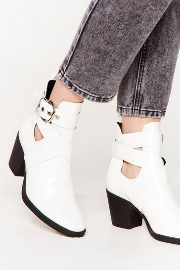 White Do We Cross Your Mind Cut-Out Heeled Boots