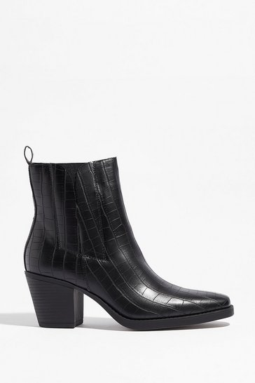 Black I'm Out Faux Leather Croc Chelsea Boots
