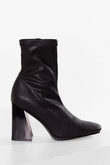 Black Flares Still Time Block Heel Sock Boots