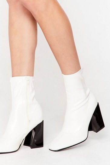 White Flare for Dramatics Faux Leather Square Toe Boots