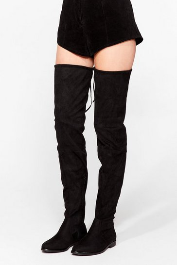 Black Start Over-the-Knee Faux Suede Boots