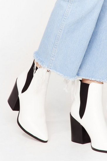 White Walk Away Faux Leather Chelsea Boots