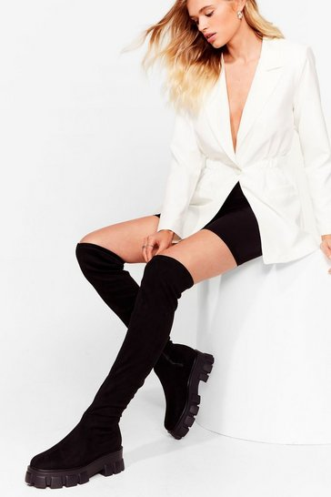 Black We're Over It Faux Suede Over-the-Knee Boots