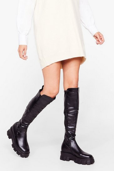 Black Faux Leather Chunky Flat Knee High Boots