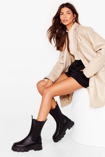 Black Chelsea It Our Way Cleated Calf High Boots