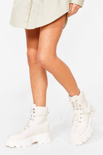 White Cleated Faux Leather Chunky Boots