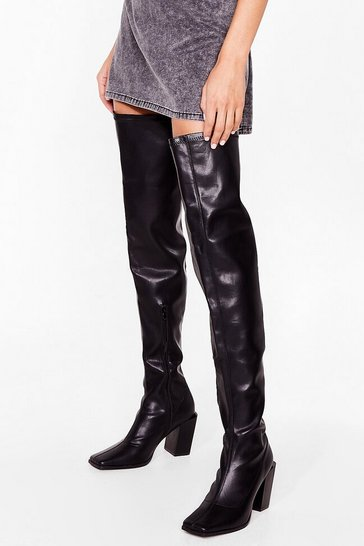 Black Steal the Show Block Heel Over-the-Knee Boots