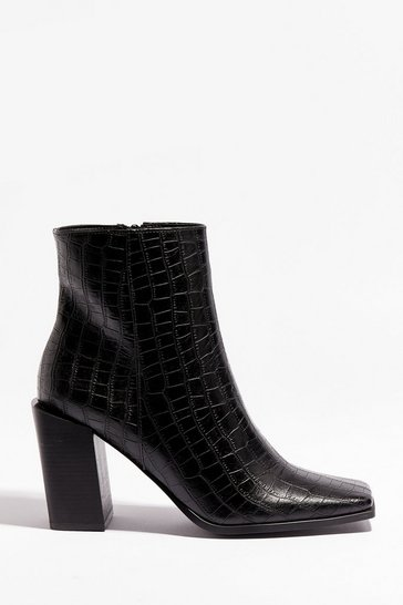 Black Croc Might Happen Faux Leather Heeled Boots