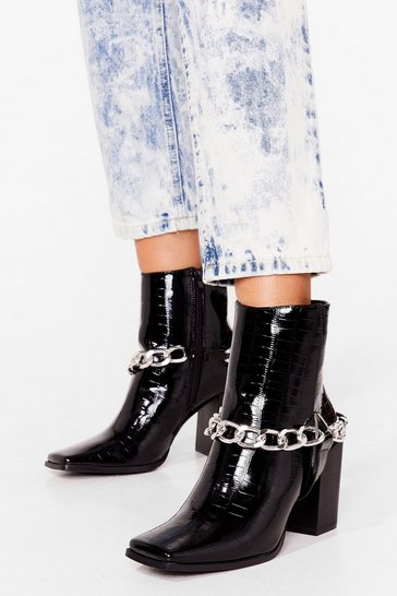 Black You Chain It Croc Heeled Boots