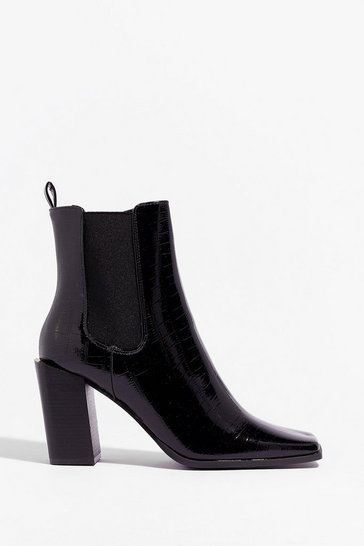 Black Square They At Faux Leather Block Heels