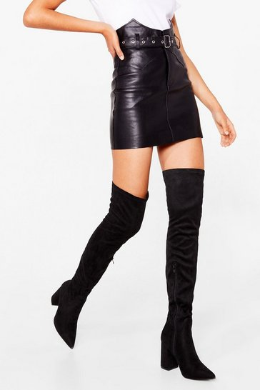 Black Livin' It Up Over-the-Knee Heeled Boots
