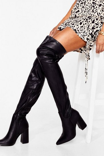 Black Livin' It Up Faux Leather Over-the-Knee Boots