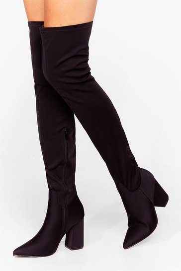 Black Faux Suede Up My Mind Over-the-Knee Heeled Boots