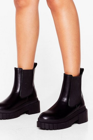 Black PU walled cleated chelsea boots