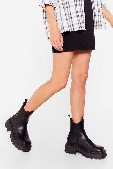 Black Build a Bridge Faux Leather Chelsea Boots