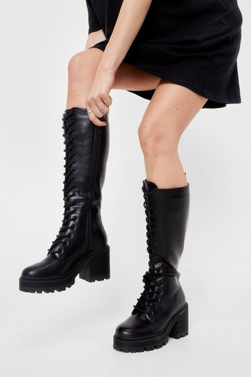 Black Lace-Up to It Knee High Heeled Boot