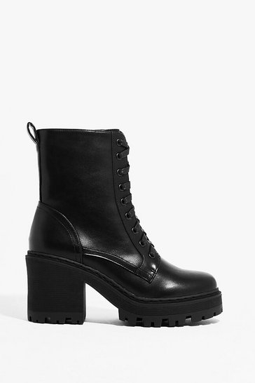 Black PU cleated heeled lace up hiker boot