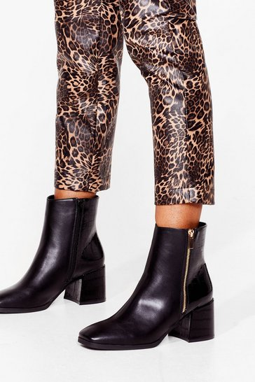 Black Faux Leather Block Heel Zip Boots