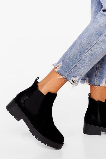 Black Chelsea You Later Faux Suede Cleated Boots