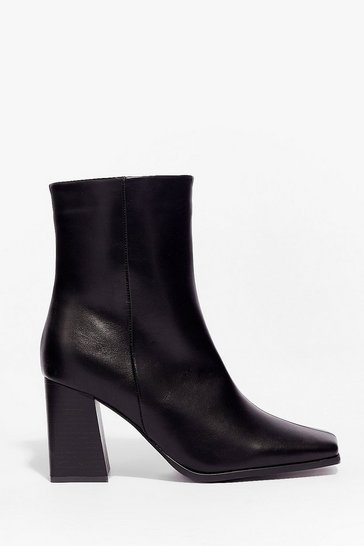 Black Faux Leather Square Toe Heeled Ankle Boots