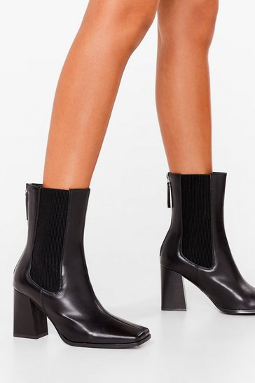 Black Get It Toe-gether Faux Leather Heeled Boots