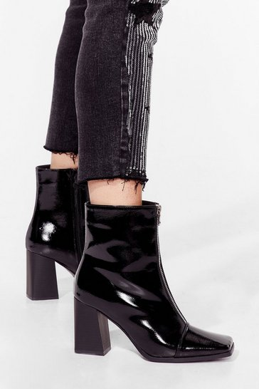 Black Zip to the Good Part Patent Heeled Boots