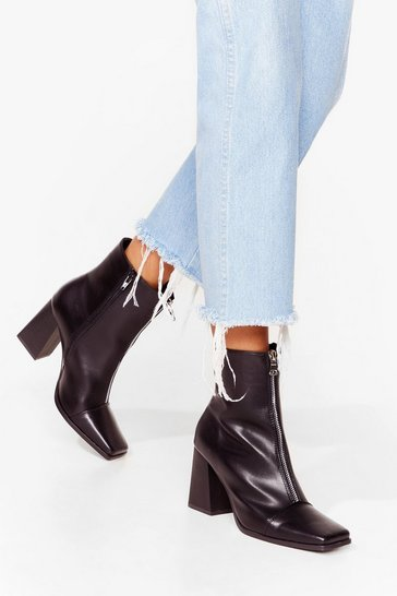 Black Zip to the Good Part Faux Leather Heeled Boots