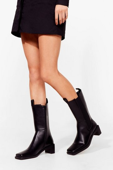 Black PU square toed high rise square toe Chelsea Boots