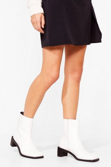 White Hunt High and Toe Heeled Sock Boots