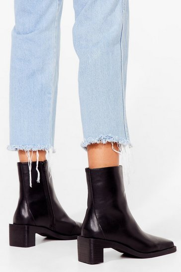 Black Block It Off Faux Leather Heeled Boots