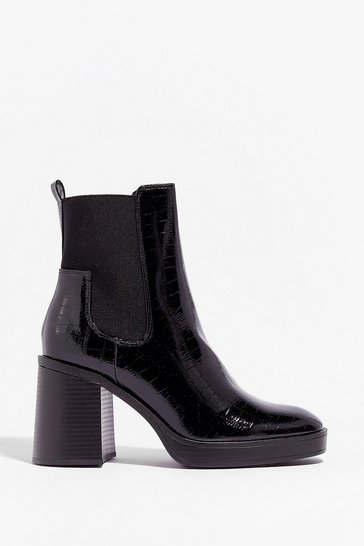 Black Level Up Croc Heeled Boots
