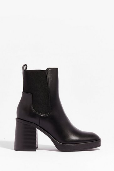 Black Level Up Faux Leather Heeled Boots