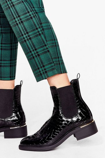 Black Croc in the Name of Love Patent Chelsea Boots