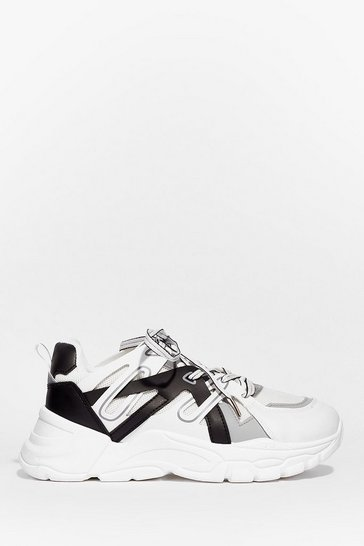 White Contrast Faux Leather Chunky Sneakers