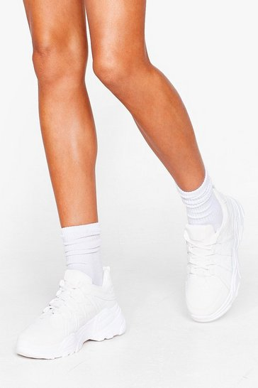 White Running in Circles Faux Leather Chunky Trainers