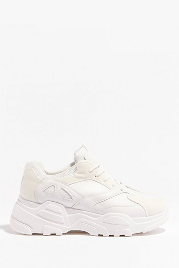 White Let's Run With It Chunky Lace-Up Sneakers